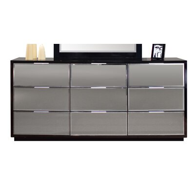 Mera 9 Drawer Standard Dresser Color: Black