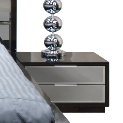 Mera 2 Drawer Nightstand Color: Black