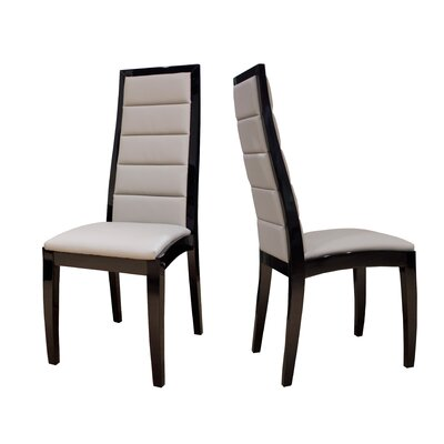 Venus Genuine Leather Upholstered Dining Chair Finish: Black Lacquer