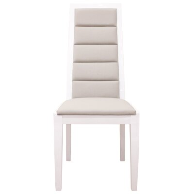 Venus Genuine Leather Upholstered Dining Chair Finish: White Lacquer