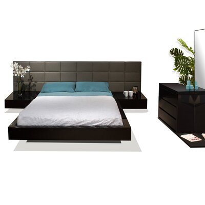 Sharon Platform Bed Finish: Black Lacquer, Size: King