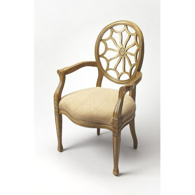 Arm Chair Upholstery: Beige, Finish: Cappuccino