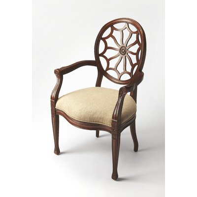 Arm Chair Upholstery: Beige, Finish: Plantation Cherry