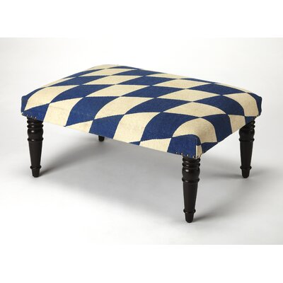 Willia Upholstered Cocktail Ottoman Upholstery: Blue/White