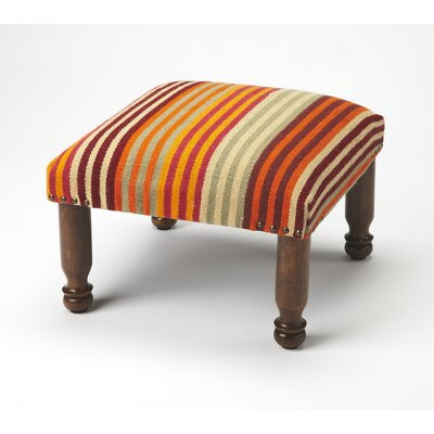 Sikhari Striped Upholstered Ottoman