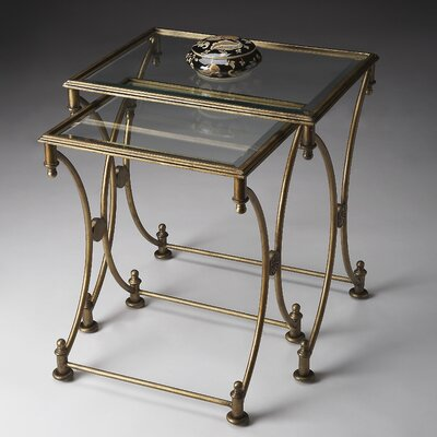 Metalworks 2 Piece Nesting Tables Finish: Antique Gold