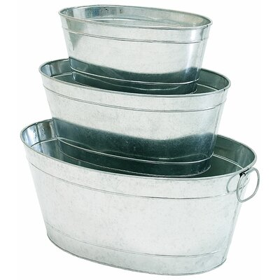 Petite Potager 3-Piece Galvanized Aluminum Pot Planter Set