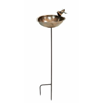 Heart Shaped Bird Bath and Feeder in Gold