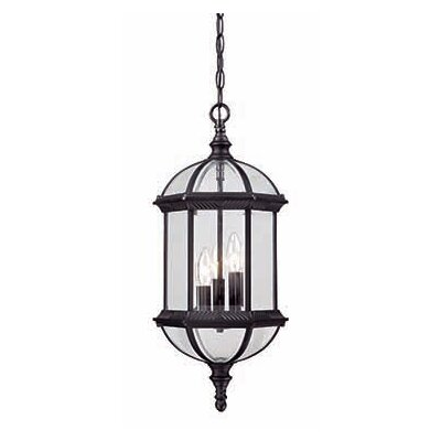 Dover 3-Light Outdoor Hanging Lantern Finish: Matte Black