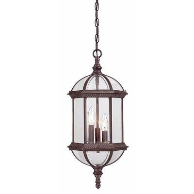 Dover 3-Light Outdoor Hanging Lantern Finish: Burled Walnut