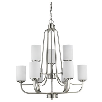 Addison 9-Light Shaded Chandelier Finish: Satin Nickel