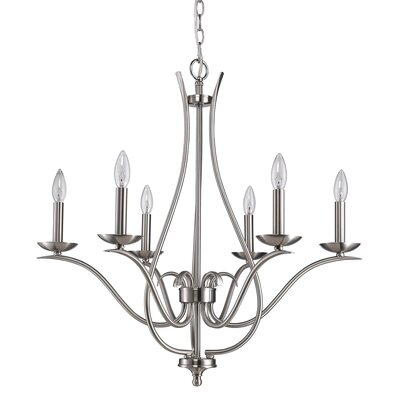 Genevieve 6-Light Candle-Style Chandelier Finish: Satin Nickel