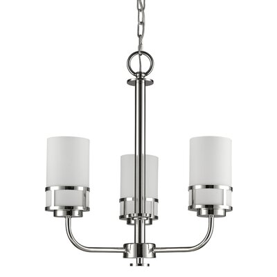 Mcduff 3-Light Shaded Chandelier Finish: Polished Nickel