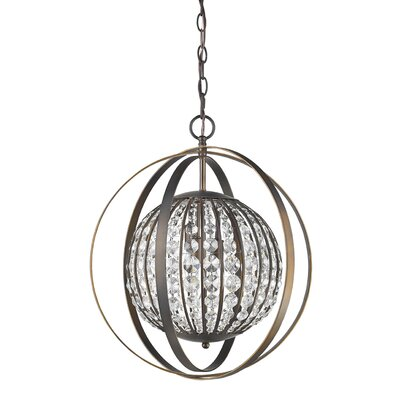 Kegler 1-Light Globe Pendant Finish: Oil Rubbed Bronze, Size: 21 H x 18 W x 18 D