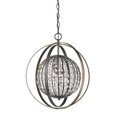 Olivia 1-Light Globe Pendant Finish: Oil Rubbed Bronze, Size: 21 H x 18 W x 18 D