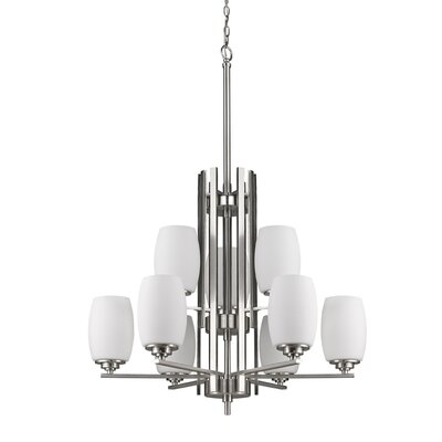 Vanfleet 9-Light Shaded Chandelier Finish: Satin Nickel