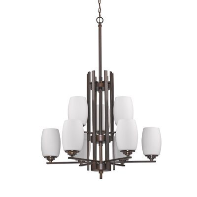 Sophia 9-Light Shaded Chandelier Finish: Oil Rubbed Bronze