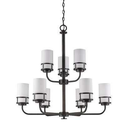 Alexis 9-Light Shaded Chandelier Finish: Oil Rubbed Bronze