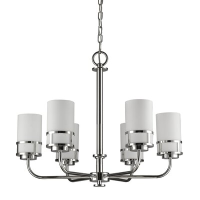 Mcduff 6-Light Shaded Chandelier Finish: Polished Nickel