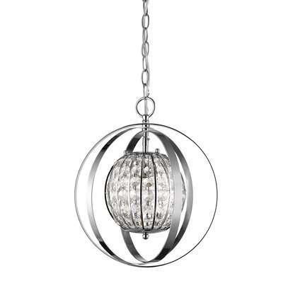 Kegler 1-Light Globe Pendant Finish: Polished Nickel, Size: 16 H x 13 W x 13 D