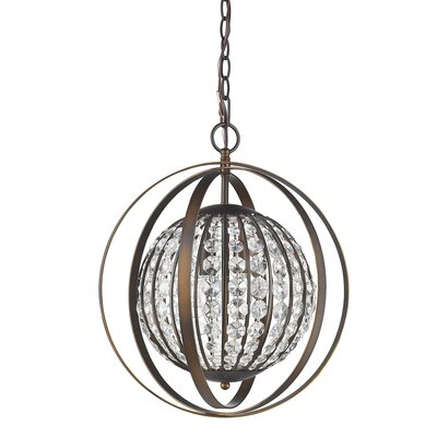 Kegler 1-Light Globe Pendant Finish: Oil Rubbed Bronze, Size: 19 H x 15.75 W x 15.75 D