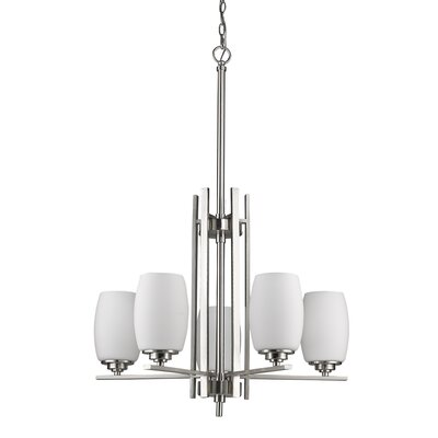 Sophia 5-Light Shaded Chandelier Finish: Satin Nickel