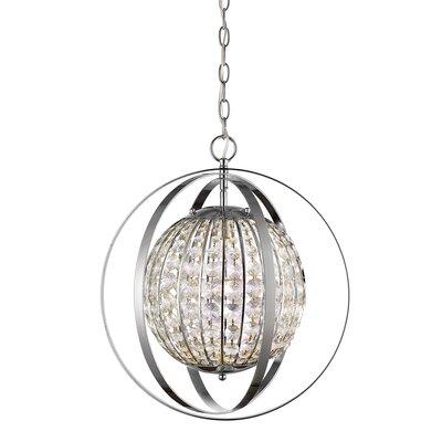 Kegler 1-Light Globe Pendant Finish: Polished Nickel, Size: 19