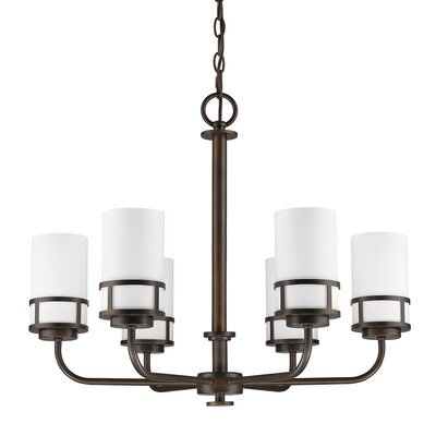 Alexis 6-Light Shaded Chandelier Finish: Oil Rubbed Bronze