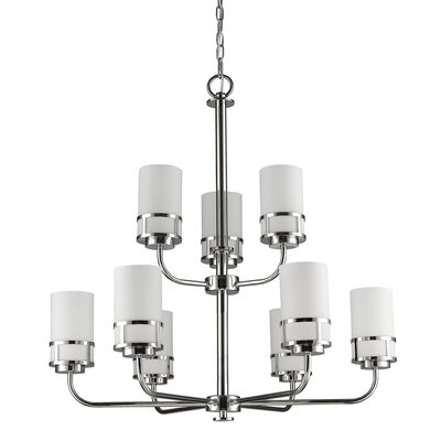 Mcduff 9-Light Shaded Chandelier Finish: Polished Nickel
