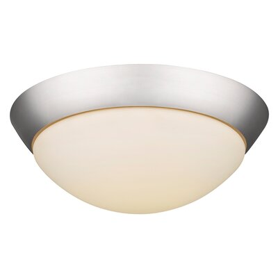 1-Light Flush Mount Base Finish: Satin Nickel, Bulb Type: 14W LED