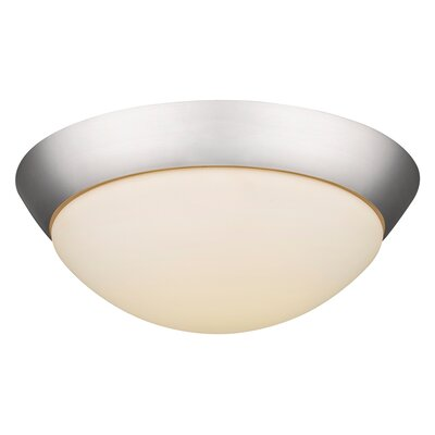 3-Light Flush Mount Base Finish: Satin Nickel, Bulb Type: 60W Med.