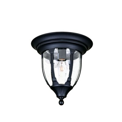 Pritchard 1-Light Flush Mount Finish: Matte Black, Shade Type: Clear Seeded