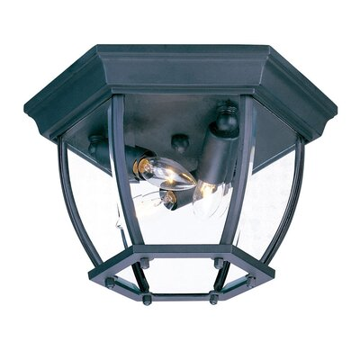 3-Light Flush Mount Finish: Matte Black, Shade Type: Clear Beveled
