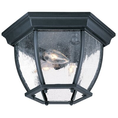 3-Light Flush Mount Finish: Matte Black, Shade Type: Clear Seeded