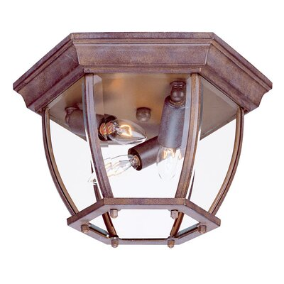 3-Light Flush Mount Finish: Burled Walnut, Shade Type: Clear Beveled