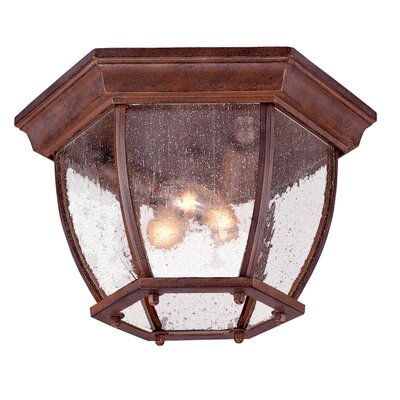 3-Light Flush Mount Finish: Burled Walnut, Shade Type: Clear Seeded