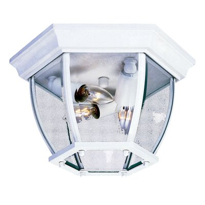 3-Light Flush Mount Finish: Textured White, Shade Type: Clear Beveled