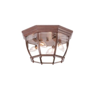 4-Light Flush Mount Finish: Burled Walnut, Shade Type: Clear Beveled