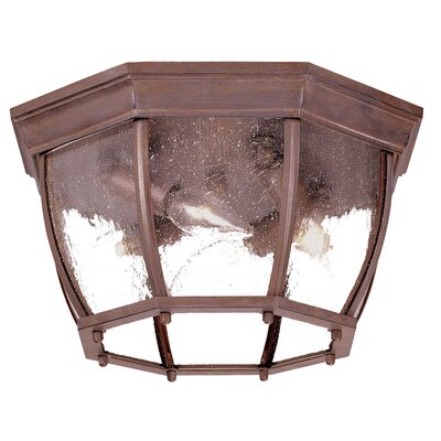 4-Light Flush Mount Finish: Burled Walnut, Shade Type: Clear Seeded