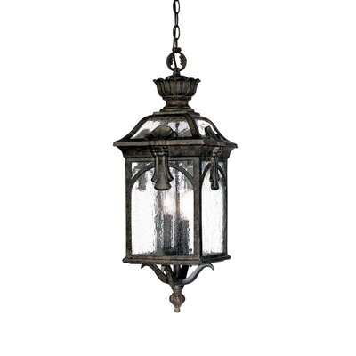 Belmont 3-Light Outdoor Hanging Lantern Finish: Black Coral, Size: 23 H x 8.25 W