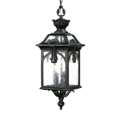 Belmont 3-Light Outdoor Hanging Lantern Finish: Black Coral, Size: 26 H x 9.5 W