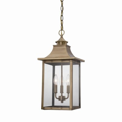 St. Charles 3-Light Outdoor Hanging Lantern Finish: Aged Brass