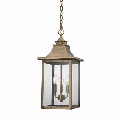 St. Charles 3-Light Outdoor Hanging Lantern Finish: Aged Brass