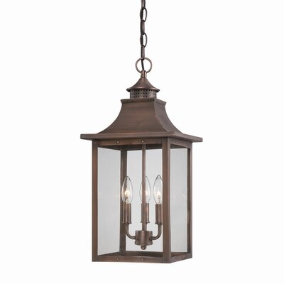St. Charles 3-Light Outdoor Hanging Lantern Finish: Copper Patina