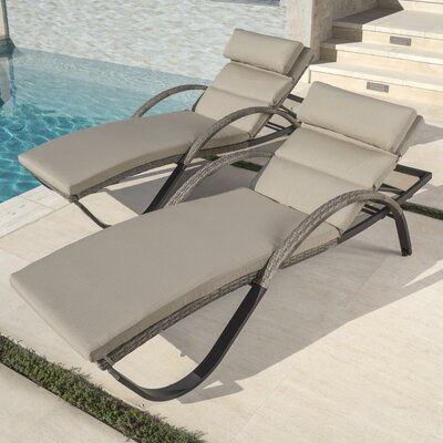 RST Brands Outdoor Cannes™ Chaise Lounges with Cushions (Set of 2) - Fabric: Slate Grey