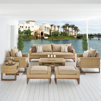 Addison 8 Piece Deep Seating Group with Cushions Fabric: Maxim Beige