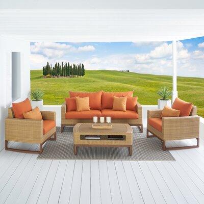 Addison 4 Piece Deep Seating Group with Cushions Fabric: Tikka Orange