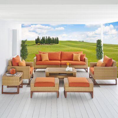 Addison 8 Piece Deep Seating Group with Cushions Fabric: Tikka Orange