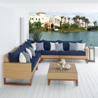 Addison 6 Piece Sectional Seating Group with Cushions Fabric: Navy Blue