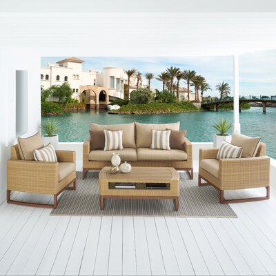 Addison 4 Piece Deep Seating Group with Cushions Fabric: Maxim Beige